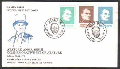 North Cyprus Stamps SG 71-73 1978 Ataturk - Official FDC