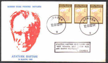 North Cyprus Stamps 1982 Ataturk Cachet Slogan - Unofficial Cover (c352)