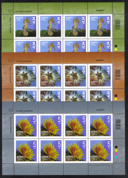 Cyprus Stamps SG 1301-03 2013 Organisms of the Mediterranean marine environment - Full sheets MINT