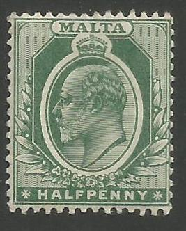Malta Stamps SG 0047b 1909 Half Penny - MLH (k094)