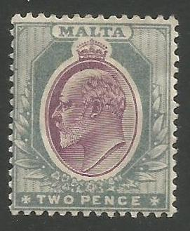 Malta Stamps SG 0050 1905 Two Pence - MH (k093)