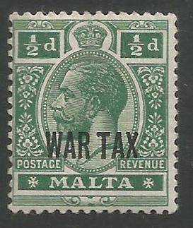 Malta Stamps SG 0092 1917 Half Penny War Tax - MH (k091)