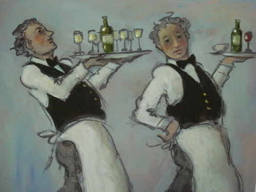 Waiters, print by Charlotte Lyon