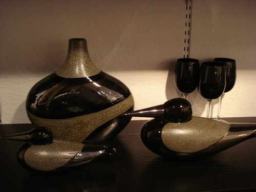 Black Calypso Collection hand made art pottery