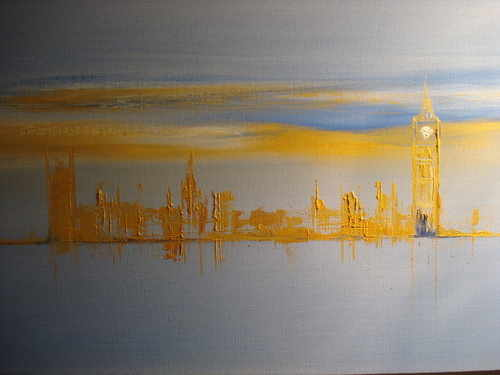 Ribbons of Gold, Westminster, oil on canvas by Sara Sherwood