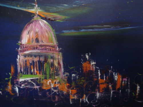 Playful St. Pauls, oil on canvas by Sara Sherwood