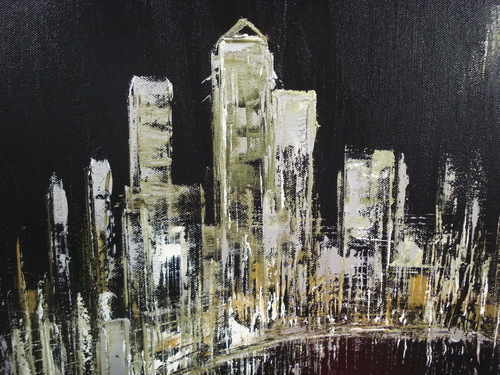 Moonlight in the city, oil on canvas by Sara Sherwood
