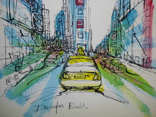 New York, pen and wash by Douglas Bull