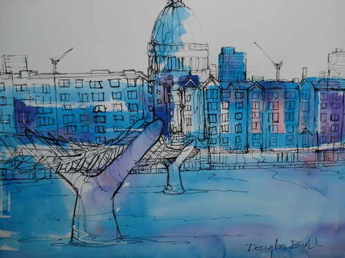 Millenium Bridge and St. Pauls, pen & wash by Douglas Bull