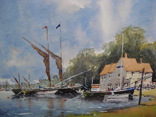 Sailing Barges at Pin Mill, watercolour painting by Alan Smith