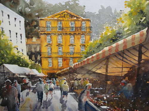 Market Place, Nice, watercolour painting by Alan Smith