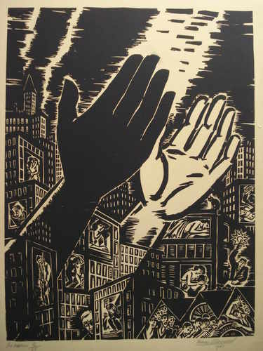The Hands, woodblock print by Franz Maserell, 1951