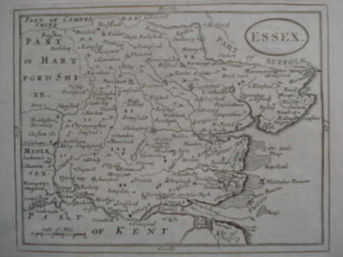 Antiquarian map of Essex, c1700