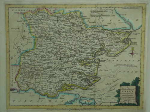 Antiquarian Map of Essex by John Ellis, Printed by Carrington Bowles, 1750