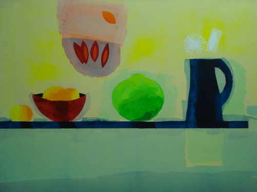 Jug, bowl and fruit, silkscreen Limited edition by Russell Baker, British p
