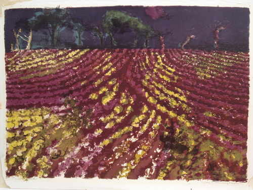 The Ploughed Field, silkscreen, limited edition by Sylvia Cunningham,