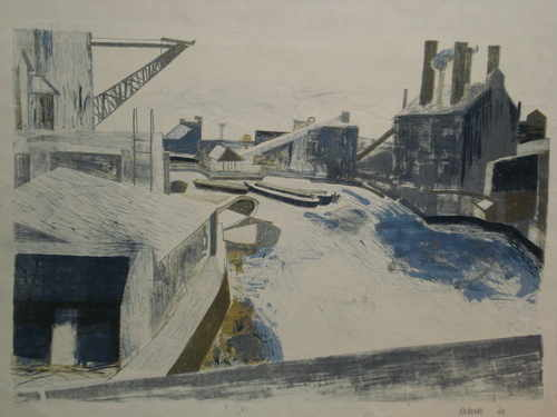Barges on an Industrial Canal, silkscreen limited edition J Roberts, 1960