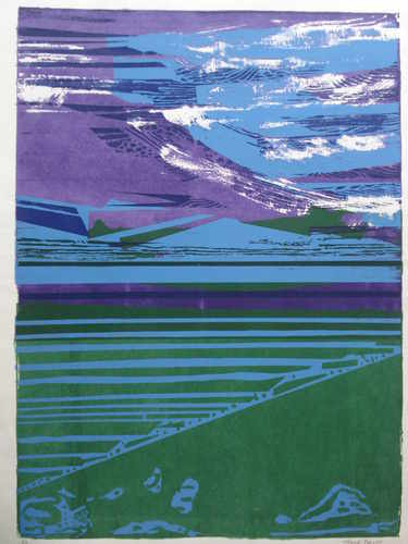 The East Coast, linocut original by Joyce Pallot (1912-2004). British Essex