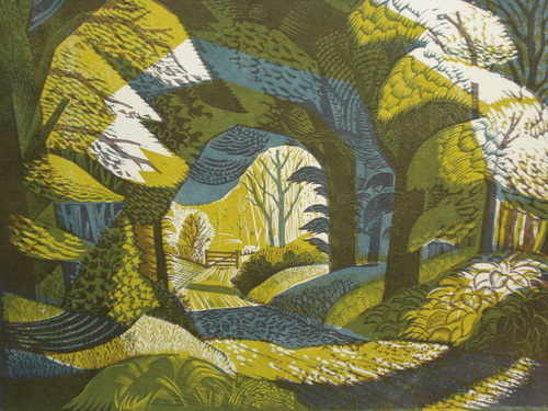 Woodland Path, Arley, Cheshire, Original linocut by Norman C. Jaques. Born