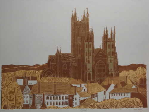 Canterbury Cathedral, original linocut by Robert Tavener (1920-2004)