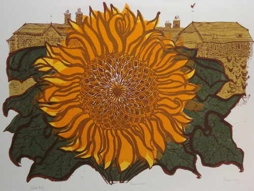 Sunflower and Barns, original linocut by Robert Tavener (1920-2004)