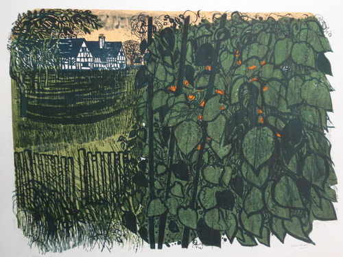 Farmhouse and Beanstalks, original linocut by RobertTavener (1920-2004)