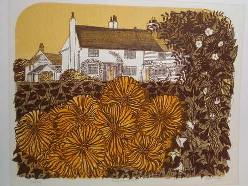 Country Garden and Cottages, original linocut by Robert Tavener (1920-2004)