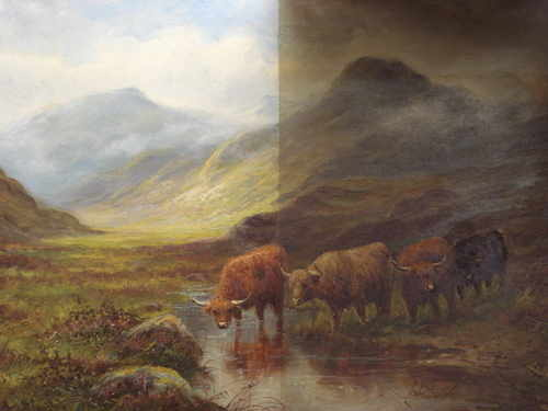 Highland Cattle in a Scottish landscape by Henry Campbell,c1880