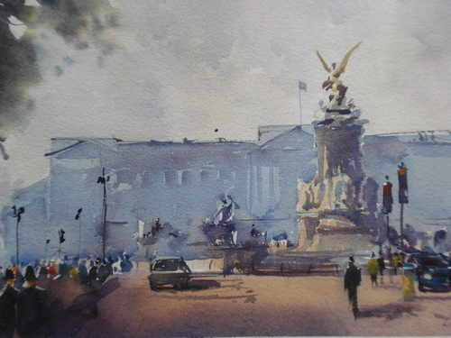 Victoria Monument, Buckingham Palace, watercolour by Lea Nixon