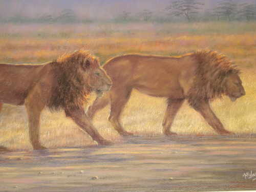 On the prowl, pastel painting by Mark Blue