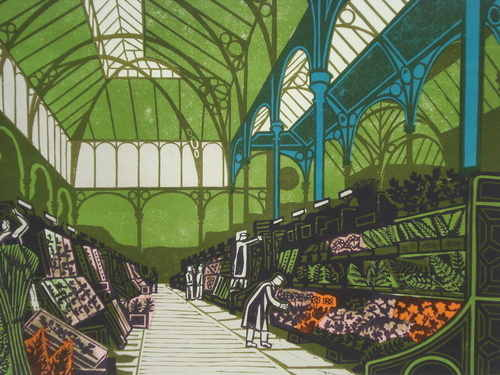 Covent Garden 1967, limited edition linocut print by Edward Bawden