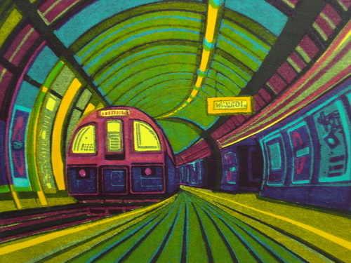 Going underground, linocut by Gail Brodholt
