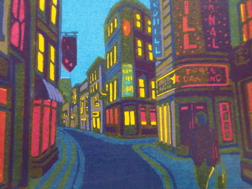 We never close, linocut print by Gail Brodholt