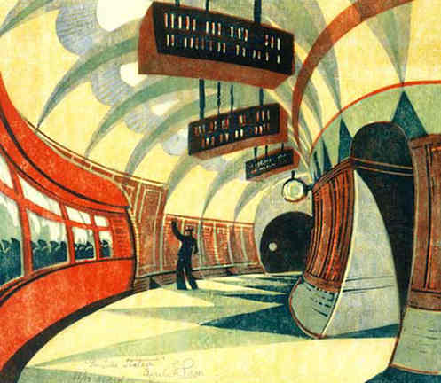 The tube station, linocut print after the original by Cyril Power