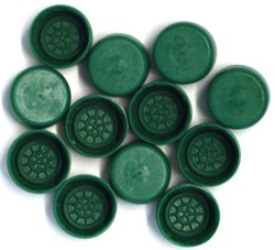 Spare screw caps for PET bottles (12's) - Green for use with Youngs 1ltr PE