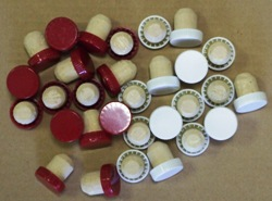Plastic Topped Flanged Corks - Red or White