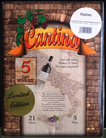 cantina gold 5 day malbec wine kit