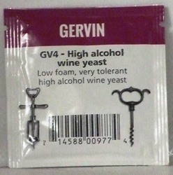 Gervin GV4 High Alcohol Wine Yeast  - sachet