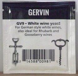 Gervin GV9 White Wine Yeast - sachet