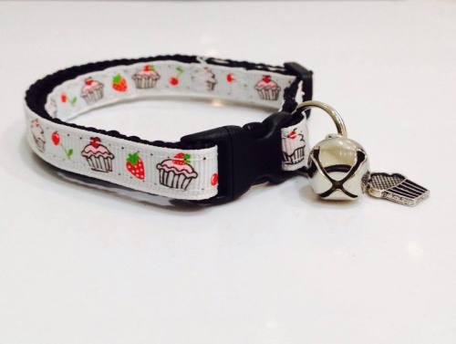 Strawberry Cherry Sweet Cupcake Charm Cat Collar