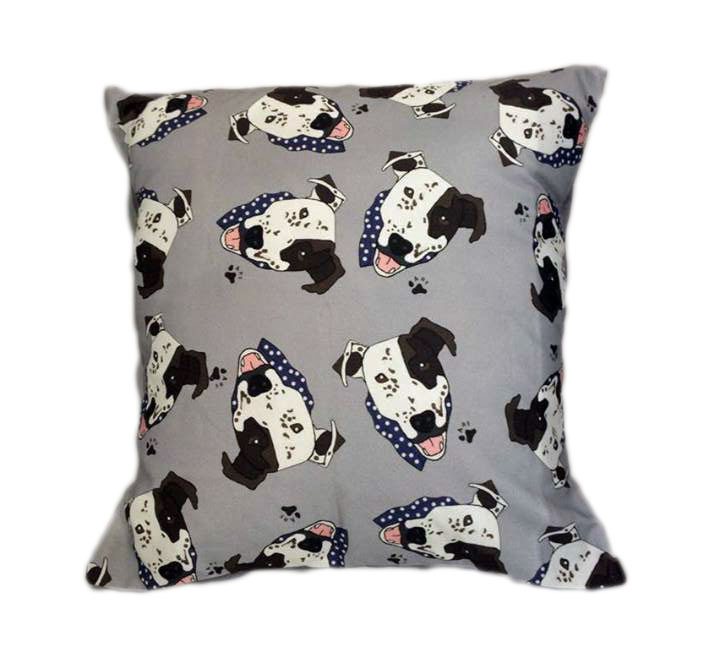 Arthur Crossbreed Rescue Mongrel Dog Cushion Grey