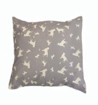 Labrador Retriever Silhouette Breed Specific Dog Cushion Grey