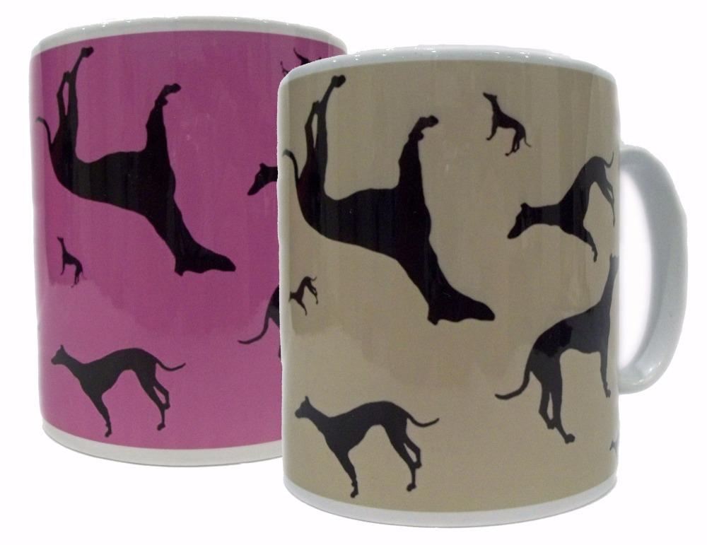 Greyhound Whippet Dog Silhouette Ceramic Mug