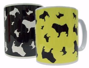 Pug Dog Silhouette Ceramic Mug