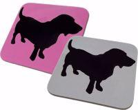 Basset Hound Dog Silhouette Gloss Coaster