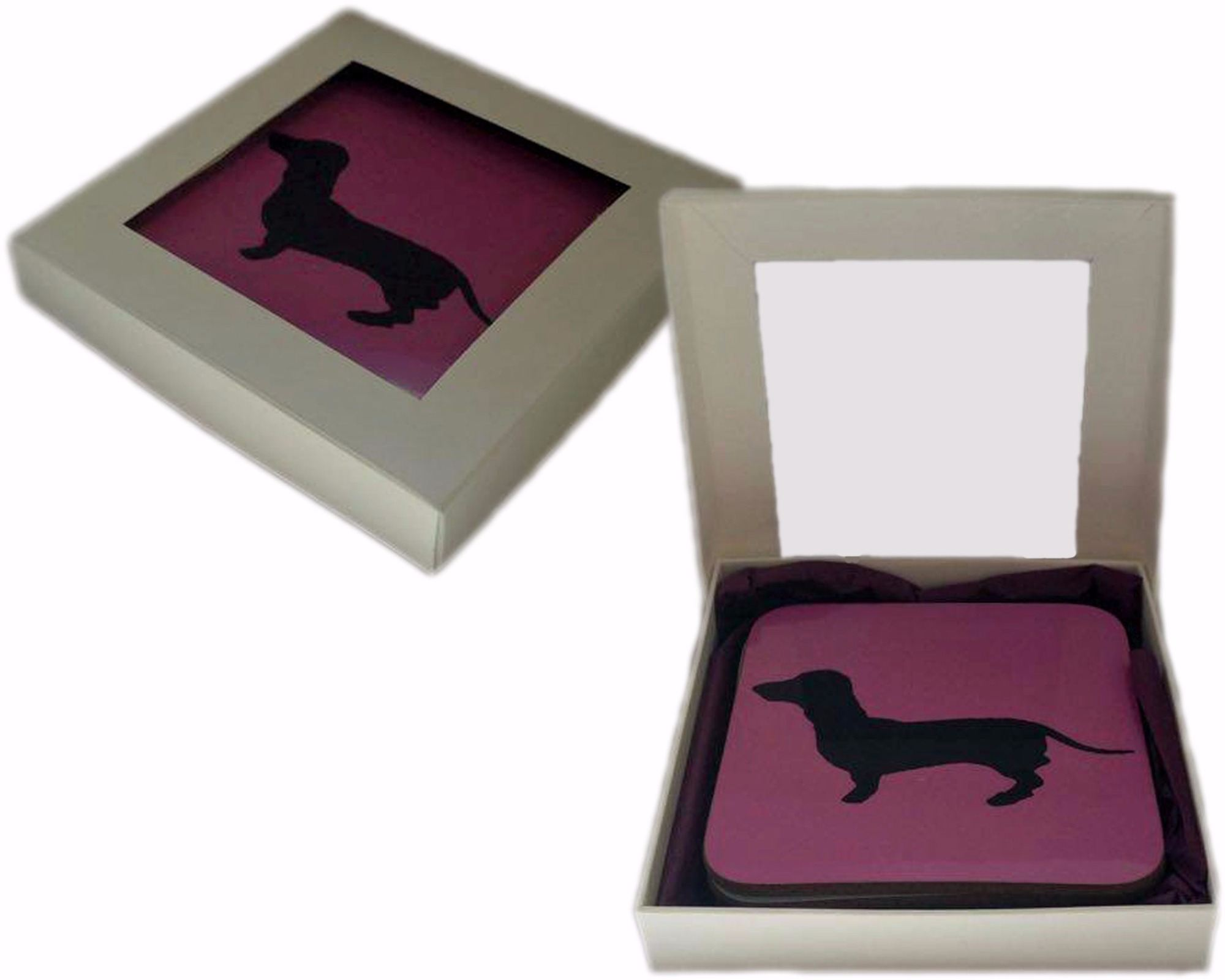 Jack Russell Terrier Dog Silhouette Jr Square Gloss Coaster
