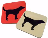 Beagle Dog Silhouette Hound Gloss Coaster