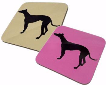 Greyhound Whippet Dog Silhouette Gloss Coaster