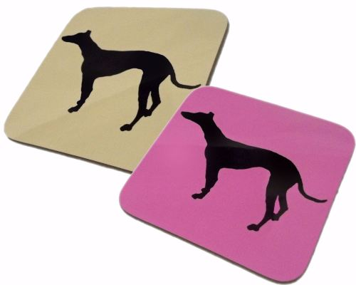 Greyhound Whippet Dog Silhouette Gloss Coaster