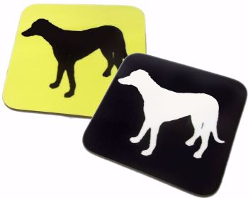 Lurcher Crossbreed Dog Silhouette Gloss Coaster